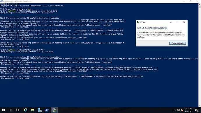 error gpfixup after renaming domain