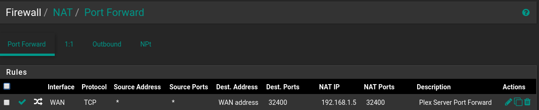 Pfsense firewall rules & Plex in docker - Networking